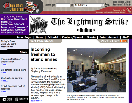 screenshot of the Lightning Strike home page