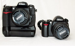 Nikon D300 vs D40 (Mike Cassidy) Tags: nikon battery size vs 1855mm grip comparison better bigger compare versus d300 multipower d40 12mp mbd10