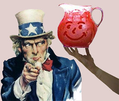 UNCLE SAM IS URGED TO DRINK THE POLITICAL KOOL-AID (wbillard) Tags: face photomanipulation photoshop election funny sam uncle political satire humor presidential congress smiley government parody pitcher koolaid