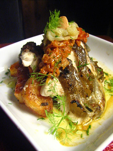 Grilled Rainbow Trout with Romesco-esque Sauce and Fennel and Onion Relish