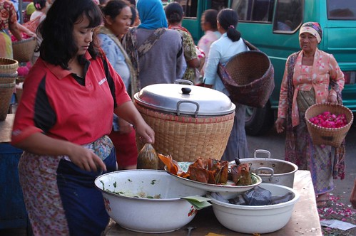 Woman selling food for breakfast at Pasar Bandungan, Central Java - Indonesia