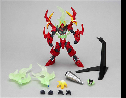 The entire box content. Comes with a stand, the Giga Drill, the additional flames, the Lazengann torso, and two pairs of additional hands. Im assuming those two fists are hands that can hold weapons so that the TTGL can borrow the two katanas from the Enki Revoltech. Maybe it can also borrow Fraulein Yokos sniper rifle!