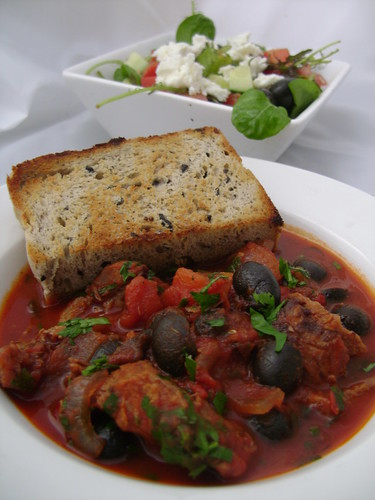 Lamb , Olive & Tomato Stew with Olive Bread and Greekish Salad