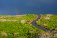 Road to a Rainbow (Nick Carver Photography) Tags: california road street winter usa green nature grass horizontal clouds landscape outdoors landscapes rainbow cloudy hill stock calm hills wilderness southerncalifornia orangecounty hillside inspirational grassland desolate irvine quailhill wildlifereserve beautyinnature