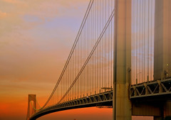 suspense (mudpig) Tags: nyc newyorkcity bridge sunset cloud newyork reflection brooklyn geotagged view suspension dusk statenisland hdr narrows verrazano verrazanonarrows mudpig harborentrance stevekelley