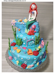 The Little Mermaid cake (Dragonfly Doces) Tags: sea fish ariel cake sebastian princess little under disney bolo mermaid pequena flounder sereia