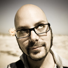 dandy lion (sgoralnick) Tags: party portrait flower beach goatee glasses bald winkel smirk beachparty eyeroll westgilgobeach