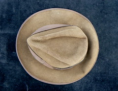 You can leave your hat on. (remember moments) Tags: brown hat circle one 1 fromabove round foundobject dietmarvollmer
