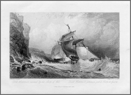 001-Dirk Hatteraick perseguido por un velero de guerra- grabado en acero por James Allen Bayliss de un dibujo de G. Balmer para la novela de W. Scott Guy Mannering 1836