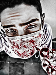 Each drop of your sweet blood (Jhows) Tags: red portrait bw selfportrait black me up cutout dark drops blood eyes mask sweet drop doctor syringe medicine write sincity sangue bwcolor siringa i w120 jhonatas jhows
