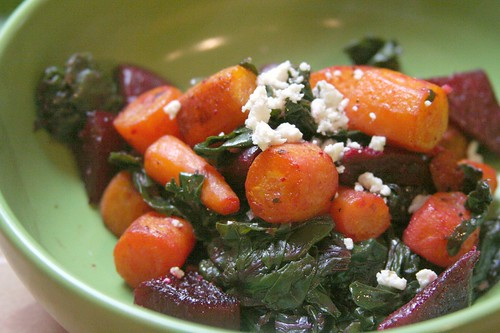 carrots, beets and kale