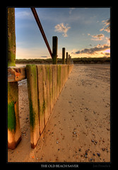 The Old Beach Saver (Jon Frosdick) Tags: wood uk autumn sunset england sky cloud sun beach evening sand colours stones norfolk pebbles northsea groyne hdr eastanglia somerton waxham sigma1020mmf456exdchsm canoneos40d