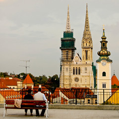 I ♥ Zagreb (marin.tomic) Tags: trip travel church bench nikon couple europe cathedral croatia roofs explore zagreb croazia croacia hrvatska kroatien d40
