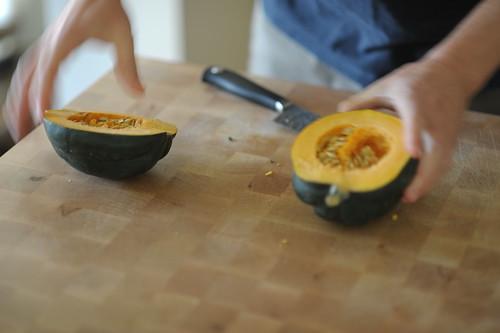 Acorn squash, cut in half