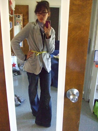 Knit Jacket, Gap; Ruffle Cardigan, Simply Vera by Vera Wang; Blue Shirt, J. Crew; Trouser Jeans, Hydraulics; Belt, thrifted