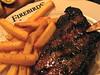 Strip Steak: 11-08-08 (Just George 2) Tags: food dinner canon dof beef frenchfries powershot fries gs beefsteak belgianfries firebirds grillmarks g9 nystripsteak canonpowershotg9