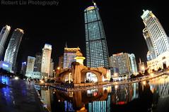 Five Elephant Fountain, Nanning (Robert Lio) Tags: china elephant night fisheye reflextion nanning guangxi
