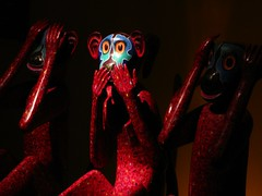 Speak no evil monkey art - Gandhi Smirti, Delhi, India