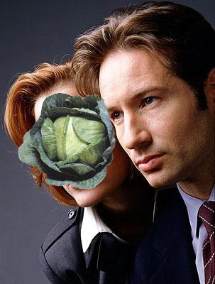 Fotografía de los protagonistas de Expediente X con una hortaliza tapando una de las caras