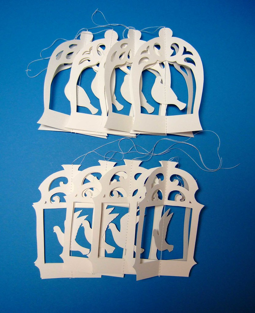 Birdcage ornaments folded flat