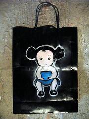 bag side2 (_Kriebel_) Tags: street stencils art love project bag paper studio graffiti stencil belgique free totoro ghibli belgica mydogsighs paperbag pochoir pochoirs schablone kriebel i streetartbelgium belgin kriebelized