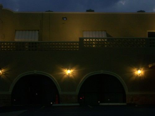 funeral home at night