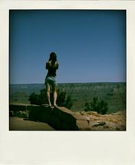 Looking over the grand canyon (zhelen) Tags: arizona portrait sky usa selfportrait back nationalpark grandcanyon canyon poladroid