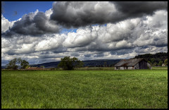 Cloudy day in Skepplanda (johanbe) Tags: sky house nature field barn nikon heaven cloudy himmel hdr d90 nikond90 molnigt skepplanda