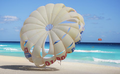 Parasails in Turquoise Sea, Cancun Mexico (Simon__X) Tags: ocean travel cruise flowers blue sea vacation sky panorama sun mountain holiday seascape tree simon love beach nature water beauty sunshine clouds