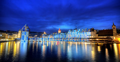 This is Lucerne (Toni_V) Tags: longexposure blue topv111 night 1025fav reflections schweiz switzerland topv333 nikon europe tripod watertower luzern flags 2008 lucerne hdr gitzo wasserturm chapelbridge kapellbrcke reuss d300 gtsch sigma1020mm hofstetter photomatix tthdr jesuitchurch toniv em2008 gerryhofstetter diamondclassphotographer flickrdiamond gt1540 toniv swisspeeks3 07032008 thiswasthereasonformytriptolucerne travelsofhomerodyssey