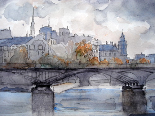 Pont des Arts Paris. Watercolor by deneux_jacques. (aquarelle)