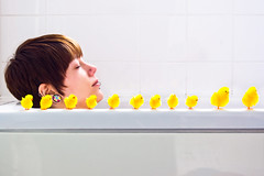 Day 235 of 365 (Doodlecats by Beth Wilson) Tags: selfportrait me yellow bath fluffy explore chicks 365 props themeweek 365days easterweek
