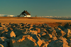 Seltjarnarnes (tomaszchrapek) Tags: sunset white house stone landscape iceland warm reykjavik seltjarnarnes