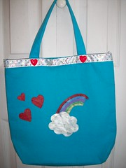 hearts and rainbow tote (misc5anddime) Tags: bag rainbow heart painted tote