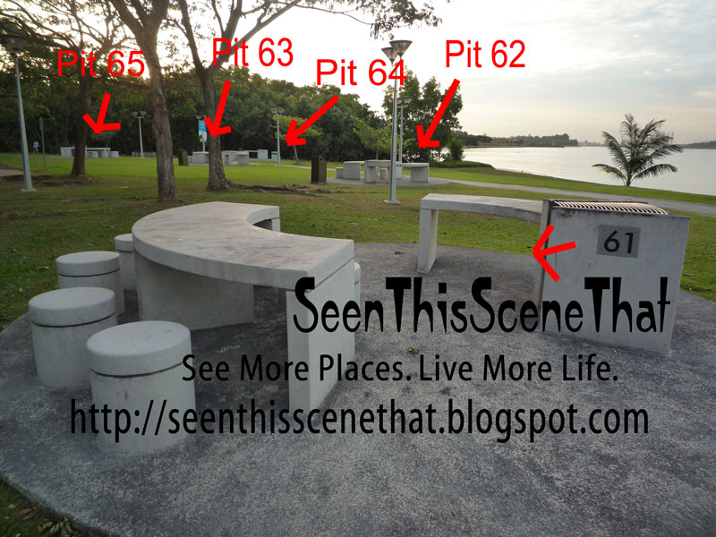 Photographs of Pasir Ris Park Barbecue Pits Number 49 to 51 61 to 65