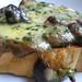 Mushrooms and cheese on toast