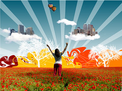 city in clouds (ukasz Strachanowski) Tags: city sky flower tree art girl field illustration clouds skyscraper photoshop design women manhattan manipulation pole illustrator vector kwiaty buliding balon miasto drzewo chmury kobieta budynki wieowce colourartaward