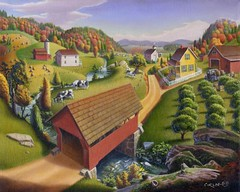 Appalachian Covered Bridge Farm Americana Folk Art Landscape Oil Painting (by waltcurlee)