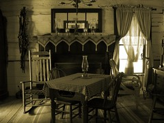 Old Fashioned (JoWiJo) Tags: old lamp sepia table mirror chair fireplace candle lace chandelier antiques rockingchair tablecloth mantle oldcitypark top20texas bestoftexas dallasheritagevillage