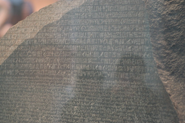 Rosetta Stone detail at the British Museum by Chris Devers