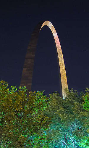 Gateway Arch, in Saint Louis, Missouri, USA - night