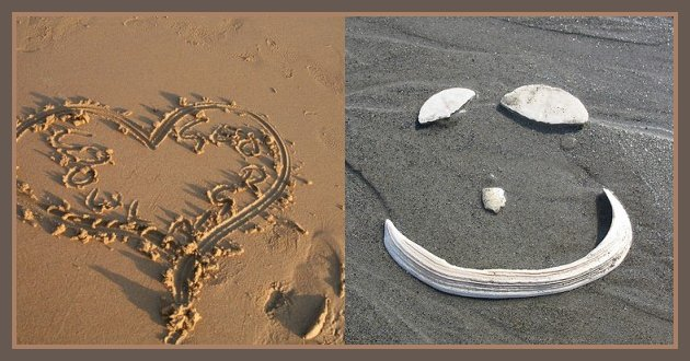 Messages in the sand.