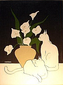 Marushka - two cats and lilies