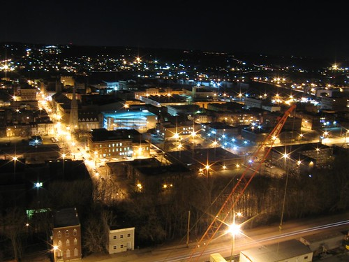 Troy and Watervliet at night
