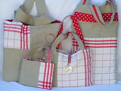 All 4 (sylviascreation) Tags: red white bag stripes polkadots tiny bags cloth solidred july2008 setof2 naturallinen zakkainspired