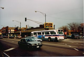 Eastbound CTA Route # 62 Archer / Dearborn-Kinzie bus passing the intersection of South Archer Avenue and west 43rd Street AKA Pope John Paul 2nd Drive. Chicago Illinois. April 1989. by Eddie from Chicago