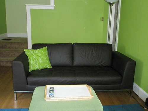 Couch with lime green paint