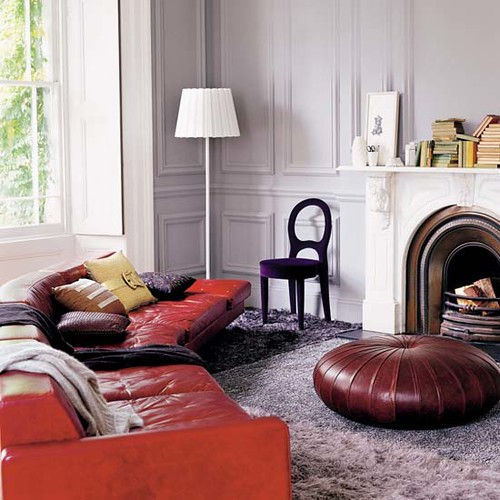 From LivingEtc I Know This Is Pretty Much Heaven See What That Purple Velvet Chair Has Going On With The Burnt Orange Leather Sofa