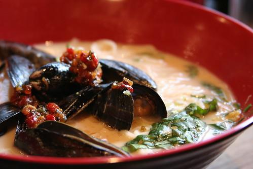 Mussels, black beans, coconut Milk Somen at Urban Belly