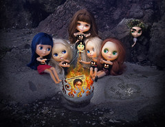 They *said* they were going to the waterfront to make S'mores (GioLovesYou) Tags: girls love fire weird doll puppet magic anger gio revenge torture blythe envy jealousy firepit sticking voodoo marionette poking bigeye blythedoll bigeyeart firebowl badmagic thisissick customboyblythe giolovesyou burningpit